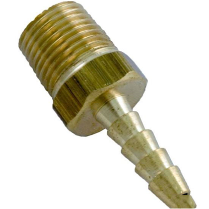 "Picture of Barb Adapter, 1/8"" Barb x 1/8"" Male Pipe Thread, Brass"