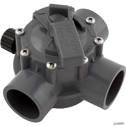 """Picture of Diverter Valve, Jandy/Zod, 1-1/2""""s/2""""spg Pos Seal, 3 Way, Gray 1154"""