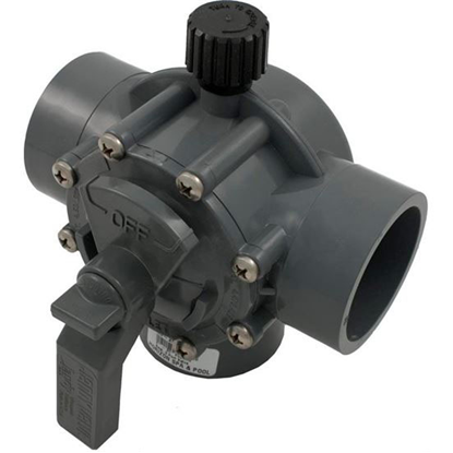 """Picture of Diverter Valve, Jandy/Zod, 2""""s/2-1/2""""spg Pos Seal, 3 Way, Gray 2875"""