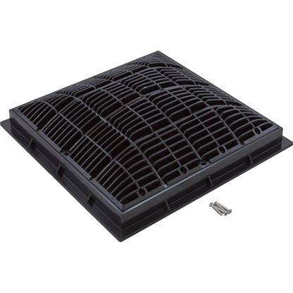 """Picture of Main Drain Grate, Waterway, 12"""" X 12"""" Square, W/Frame, Black 640-4721 V"""