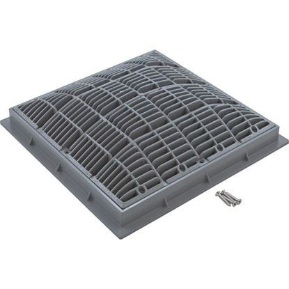 """Picture of Main Drain Grate, Waterway, 12"""" X 12"""" Square, W/Frame, Gray 640-4727 V"""