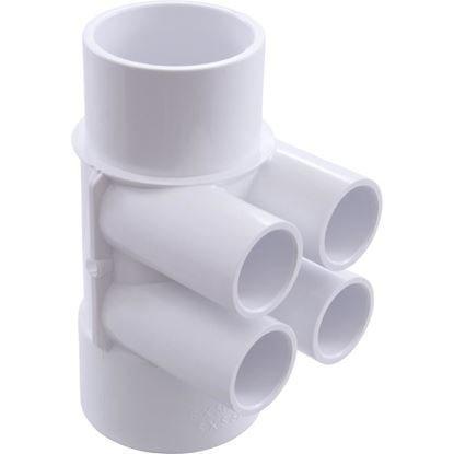 """Picture of Manifold, 3/4"""" Slip, 4 Port, Flow Thru, 2"""" Slip x 2"""" Spigot 672-4200"""