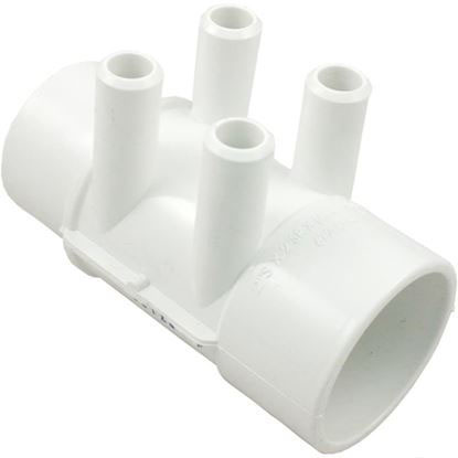 Picture of 672-4160 Manifold: 4-Port Flo-Thru 2' Slip X 2' Spigot X 3/4' Smooth Barb-672-4160