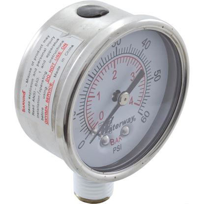 "Picture of Pressure Gauge, Waterway, 1/4""mpt, 0-60psi, Bottom Mount 830-3000"