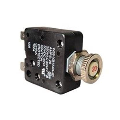 Picture of W58-Xb1a4a-20 Circuit Breaker: 20amp 110v Panel Mount-W58-Xb1a4a-20
