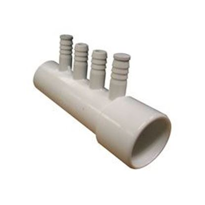 Picture of 672-0400 Manifold: 4-Port 1' Slip X 1' Spigot X (4) 3/8' Ribbed Barb-672-0400
