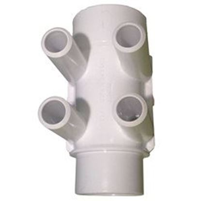Picture of 672-4140 Manifold: 4-Port Flo-Thru 1-1/2' Slip X 1-1/2' Slip X 3/4' Smooth Barb-672-4140